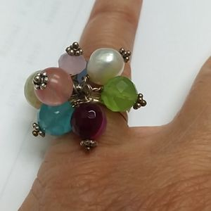 Ring Silver color with stones